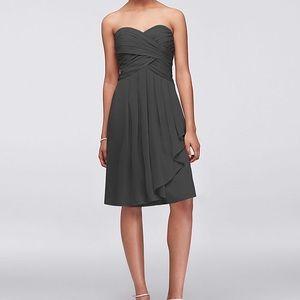 David's Bridal Short crinkle chiffon dress